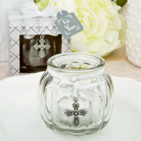 Cross Themed Glass Globe Candle Holder